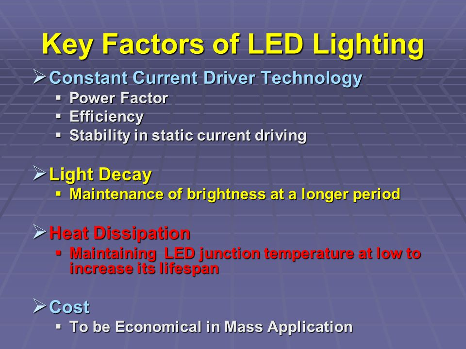 Key Factors of LED Lighting Constant Current Driver Technology Constant Current Driver Technology Power Factor Power Factor Efficiency Efficiency Stability in static current driving Stability in static current driving Light Decay Light Decay Maintenance of brightness at a longer period Maintenance of brightness at a longer period Heat Dissipation Heat Dissipation Maintaining LED junction temperature at low to increase its lifespan Maintaining LED junction temperature at low to increase its lifespan Cost Cost To be Economical in Mass Application To be Economical in Mass Application
