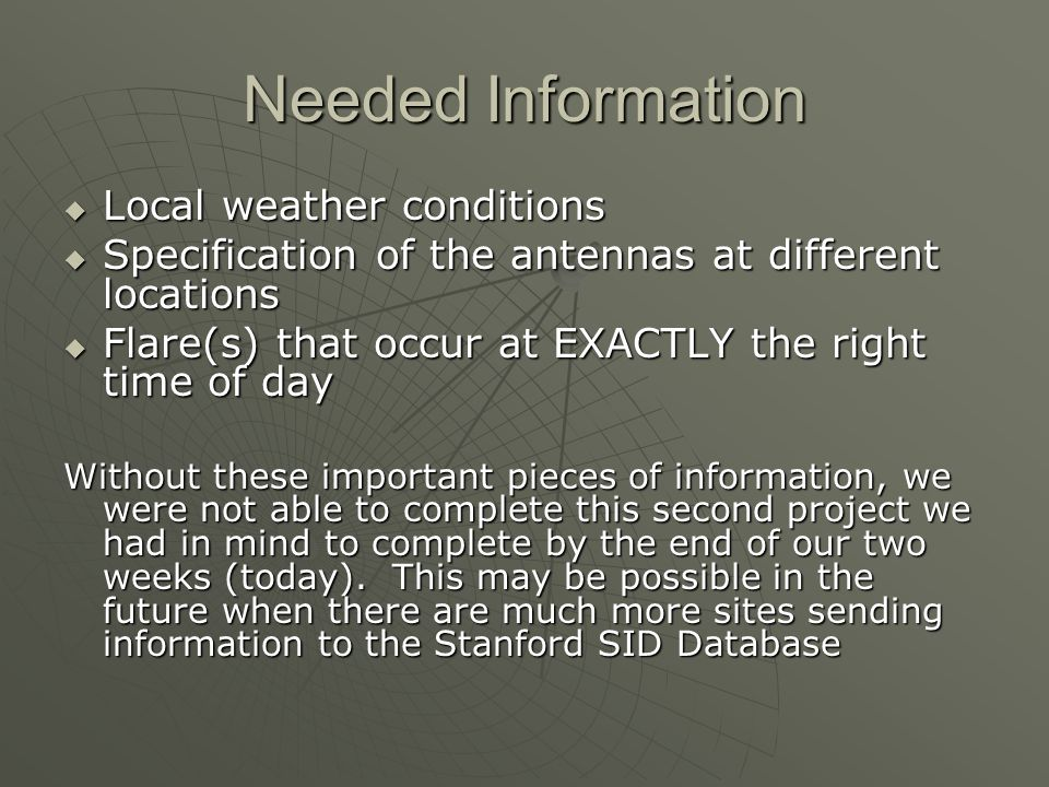 Needed Information Local weather conditions Local weather conditions Specification of the antennas at different locations Specification of the antenna