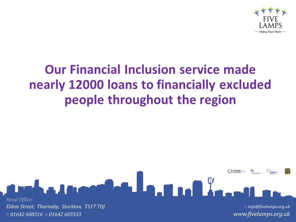 Our Financial Inclusion service made nearly 12000 loans to financially excluded people throughout the region