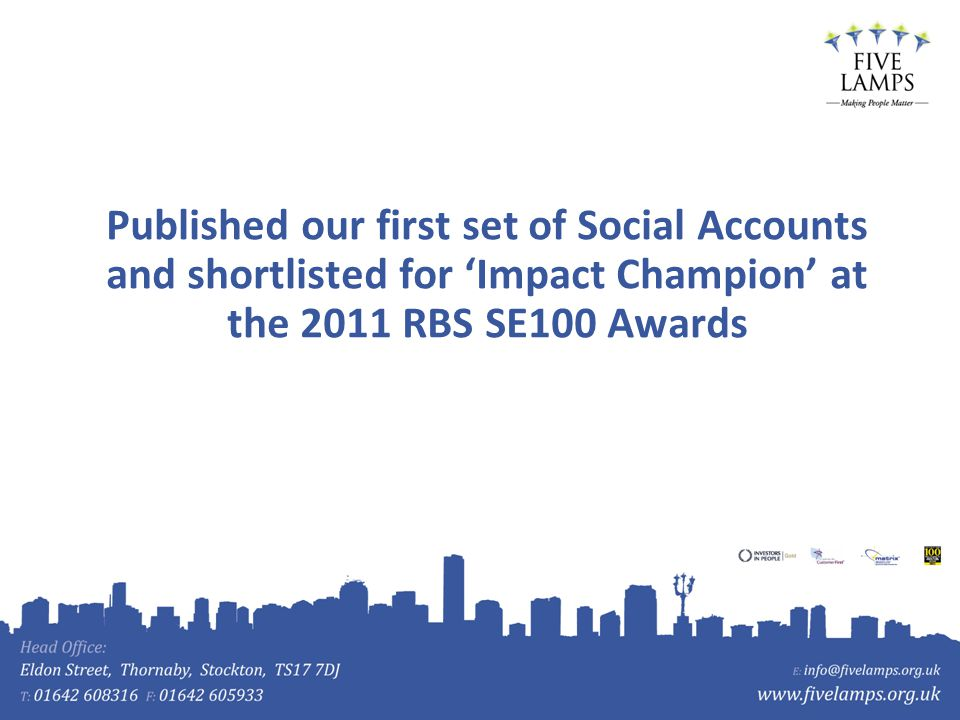 Published our first set of Social Accounts and shortlisted for Impact Champion at the 2011 RBS SE100 Awards