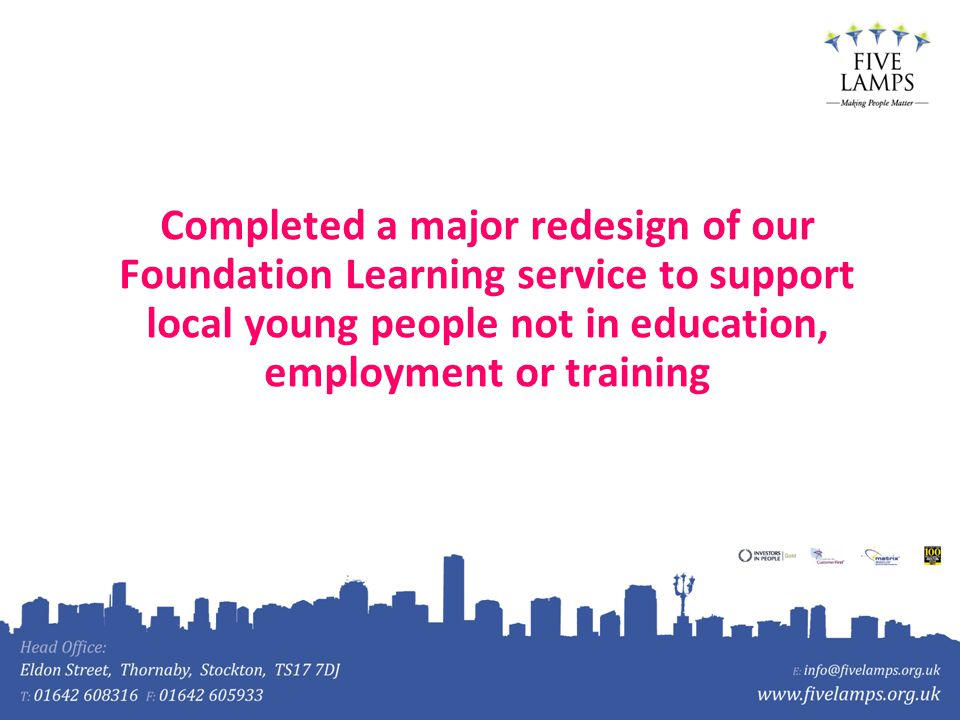 Completed a major redesign of our Foundation Learning service to support local young people not in education, employment or training