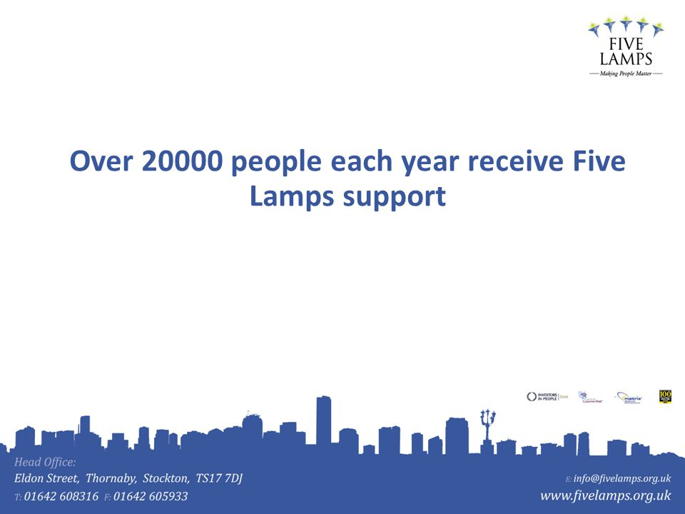 Over 20000 people each year receive Five Lamps support
