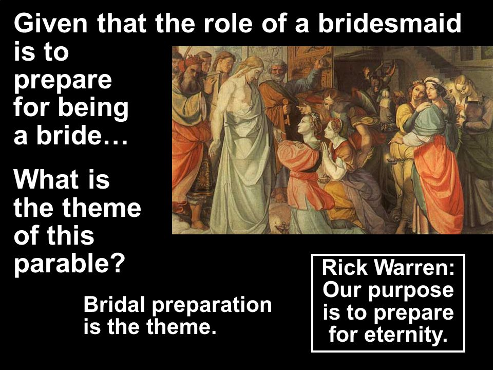 What are the virgins to do.They are to meet the Bridegroom to give honor to Him.