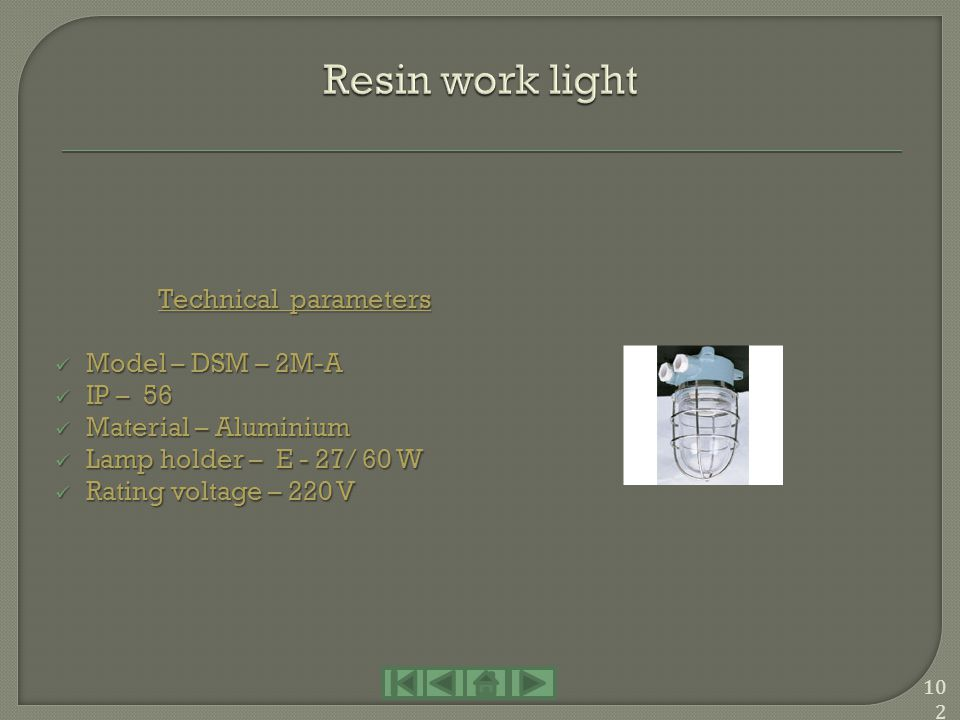Technical parameters Model – DSM – 3M Model – DSM – 3M IP – 55 IP – 55 Material – Copper Material – Copper Lamp holder – E - 27/ 40 W Lamp holder – E