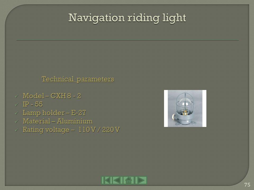 Technical parameters Model – CXH 12 Model – CXH 12 IP - 55 IP - 55 Lamp holder – B15d Lamp holder – B15d Material – Fiberglass Material – Fiberglass R