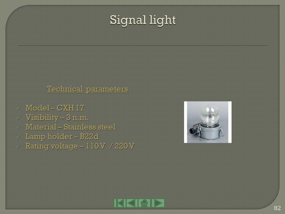 Technical parameters Model – CXH 5 – 3 Model – CXH 5 – 3 IP - 56 IP - 56 Material – Plastic Material – Plastic Lamp holder – B15d / 30 W Lamp holder –