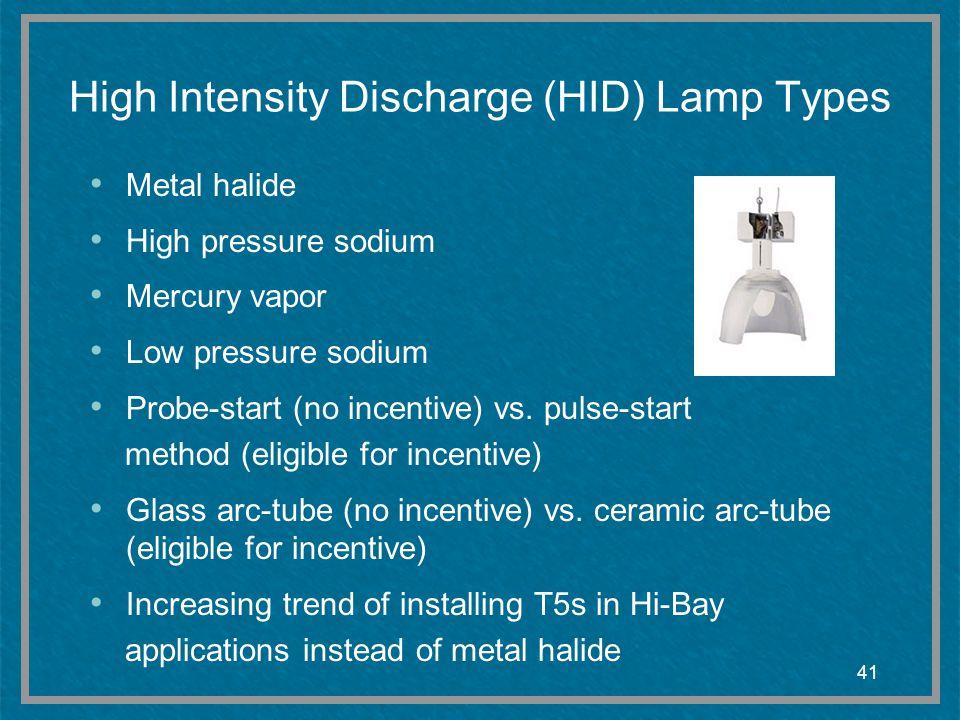 41 High Intensity Discharge (HID) Lamp Types Metal halide High pressure sodium Mercury vapor Low pressure sodium Probe-start (no incentive) vs.