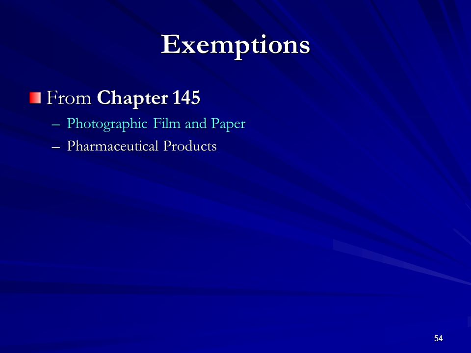 54 Exemptions From Chapter 145 –Photographic Film and Paper –Pharmaceutical Products