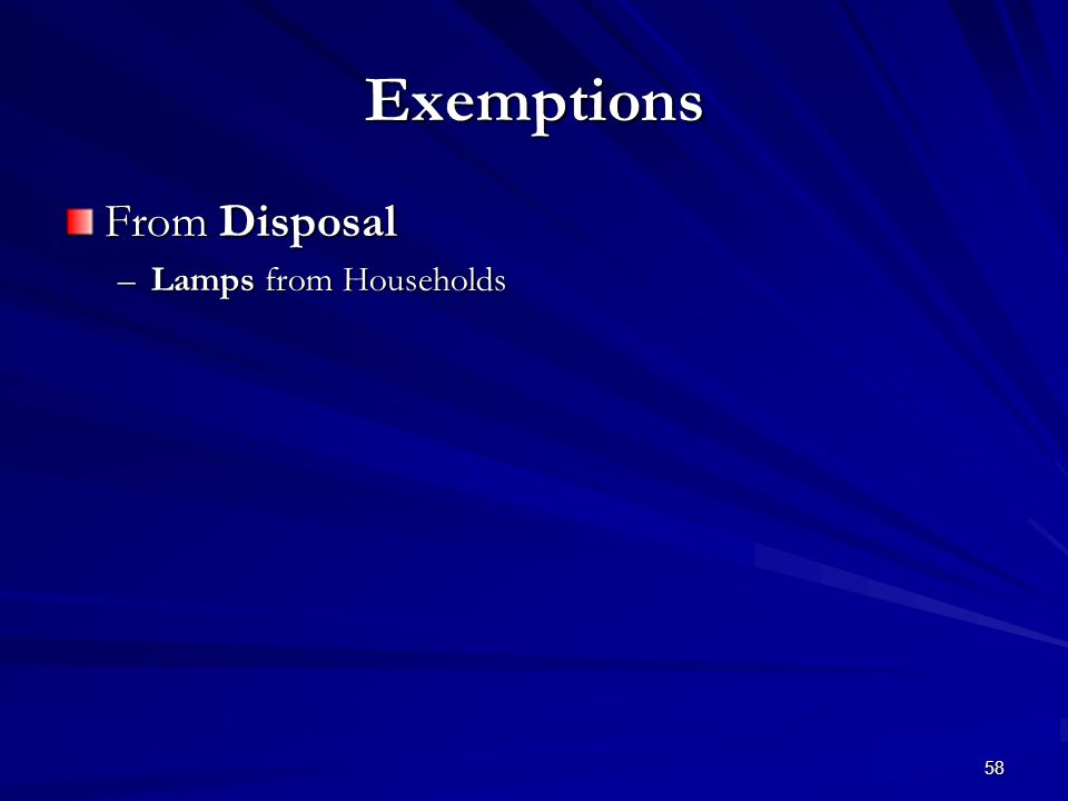 58 Exemptions From Disposal –Lamps from Households