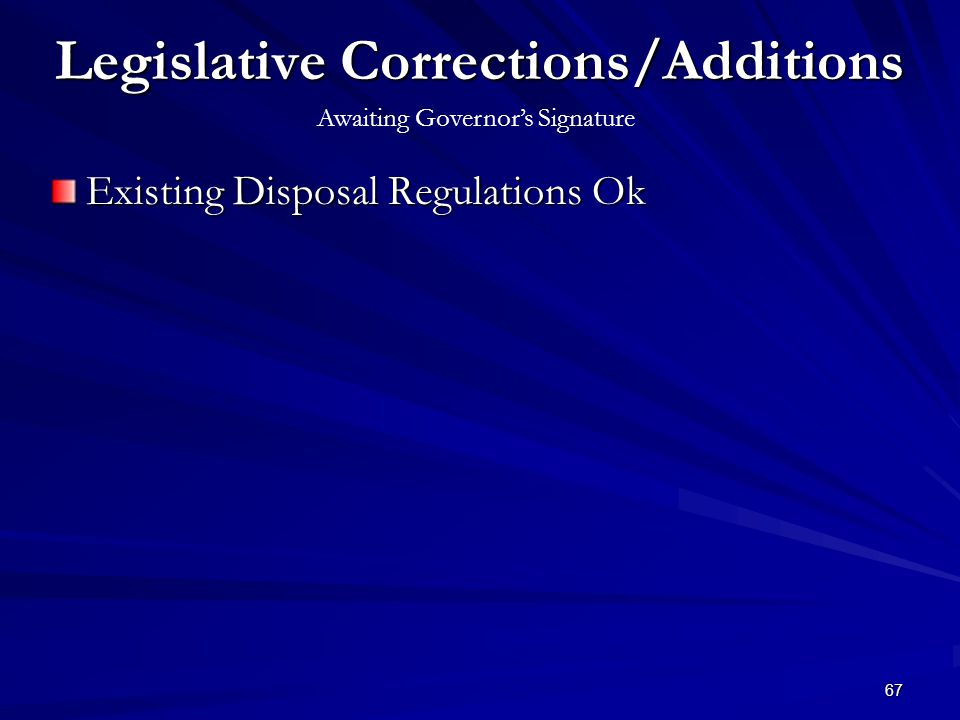 67 Legislative Corrections/Additions Existing Disposal Regulations Ok Awaiting Governors Signature