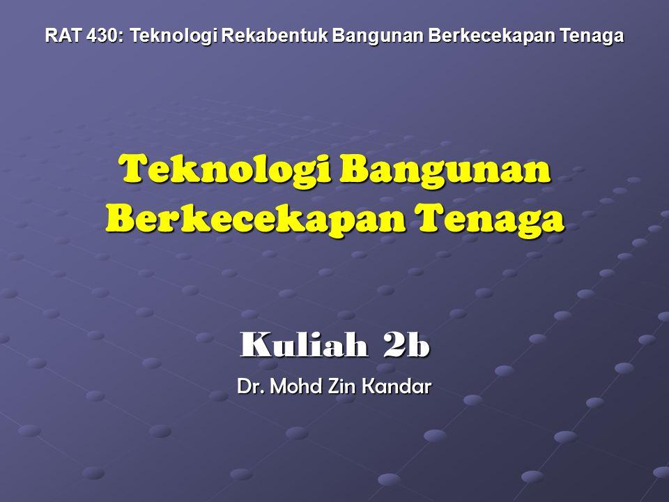 Teknologi Bangunan Berkecekapan Tenaga Kuliah 2b Dr. Mohd Zin Kandar RAT 430: Teknologi Rekabentuk Bangunan Berkecekapan Tenaga
