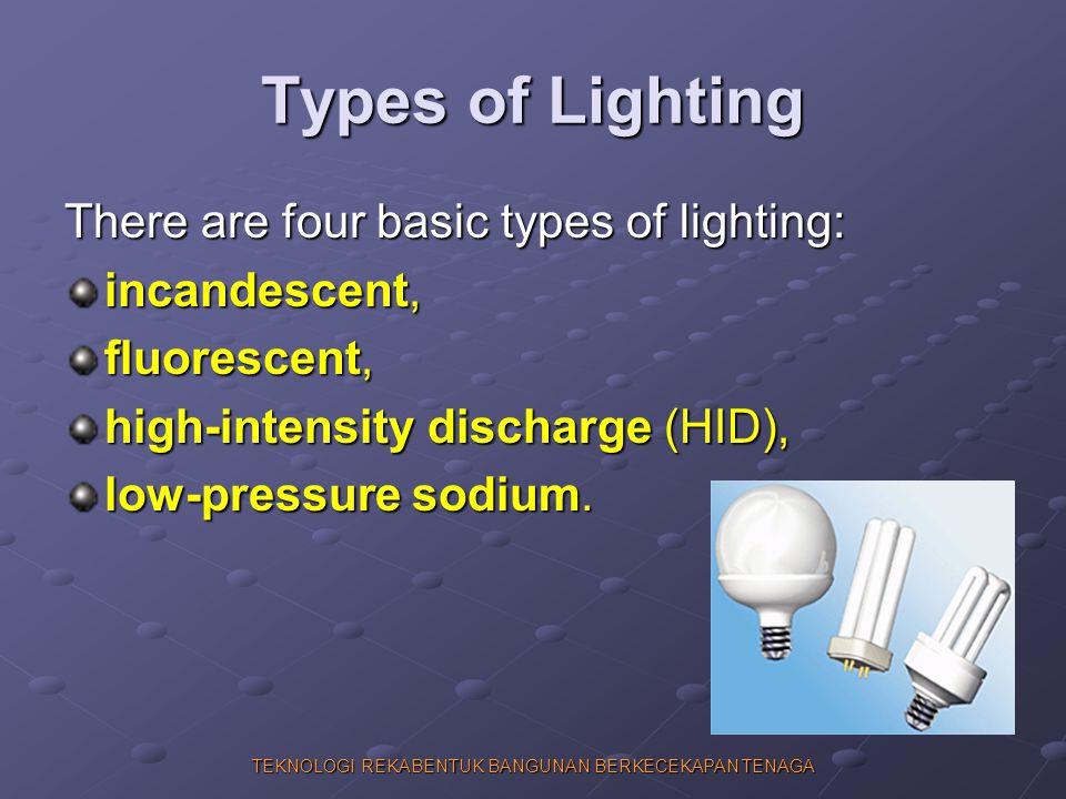 TEKNOLOGI REKABENTUK BANGUNAN BERKECEKAPAN TENAGA Types of Lighting There are four basic types of lighting: incandescent, fluorescent, high-intensity