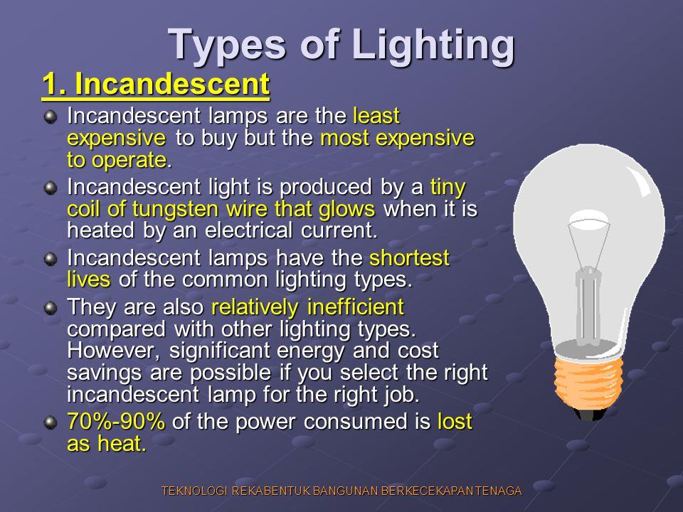 TEKNOLOGI REKABENTUK BANGUNAN BERKECEKAPAN TENAGA Types of Lighting 1. Incandescent Incandescent lamps are the least expensive to buy but the most exp