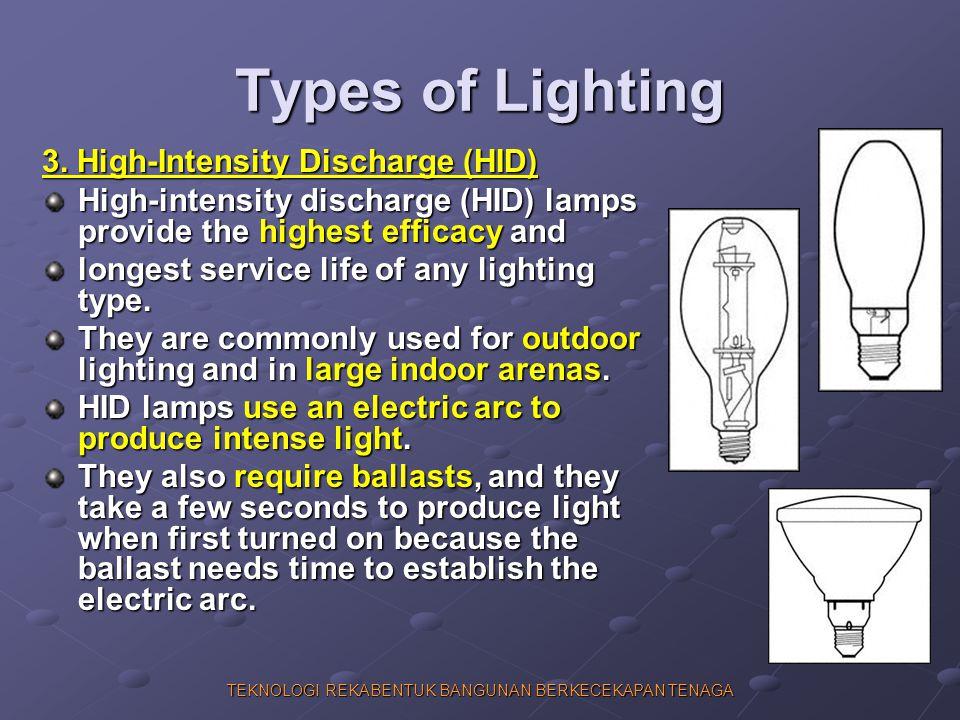 TEKNOLOGI REKABENTUK BANGUNAN BERKECEKAPAN TENAGA Types of Lighting 3. High-Intensity Discharge (HID) High-intensity discharge (HID) lamps provide the