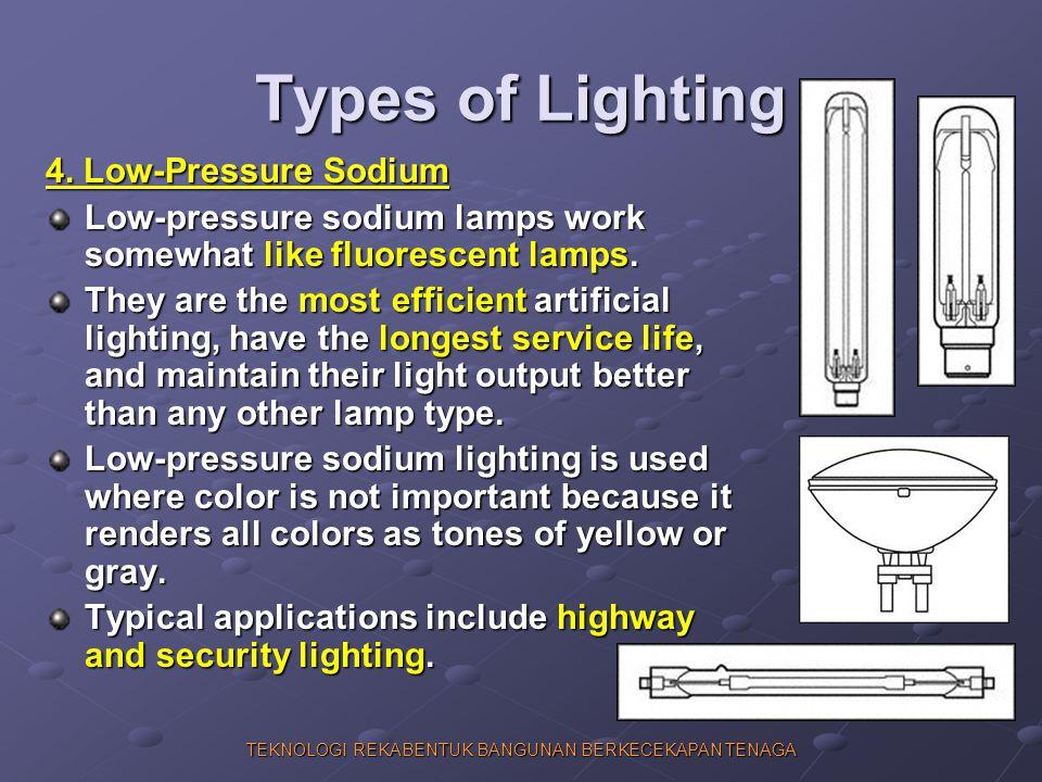 TEKNOLOGI REKABENTUK BANGUNAN BERKECEKAPAN TENAGA Types of Lighting 4. Low-Pressure Sodium Low-pressure sodium lamps work somewhat like fluorescent la
