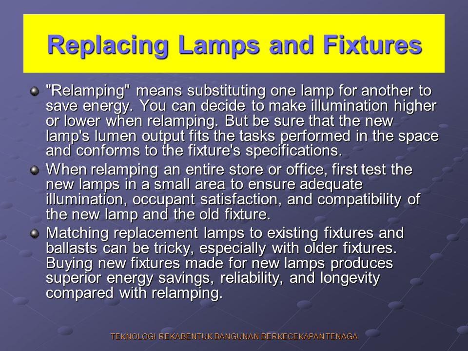 TEKNOLOGI REKABENTUK BANGUNAN BERKECEKAPAN TENAGA Replacing Lamps and Fixtures