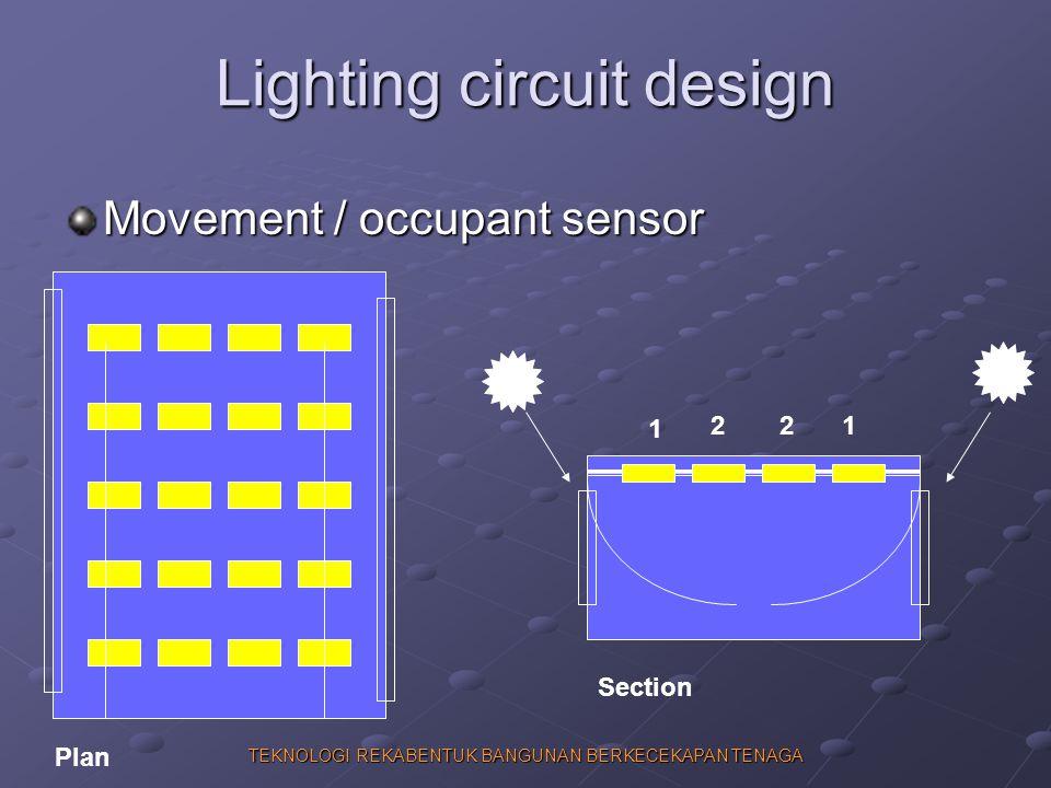 TEKNOLOGI REKABENTUK BANGUNAN BERKECEKAPAN TENAGA Lighting circuit design Movement / occupant sensor 1 221 Plan Section