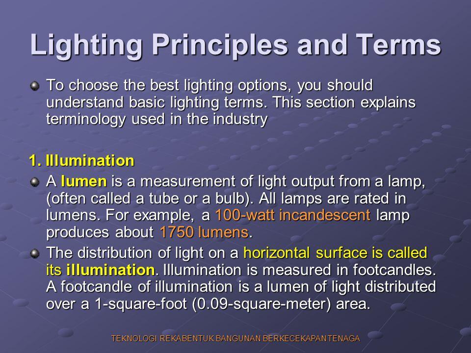 TEKNOLOGI REKABENTUK BANGUNAN BERKECEKAPAN TENAGA Lighting Principles and Terms To choose the best lighting options, you should understand basic light