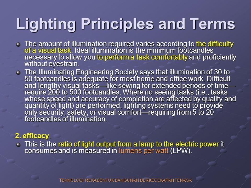 TEKNOLOGI REKABENTUK BANGUNAN BERKECEKAPAN TENAGA Lighting Principles and Terms The amount of illumination required varies according to the difficulty