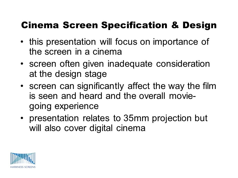 Types of cinema screen Screens are available with various gain levels: matt white: gain typically 0.8 – 1.0 gain screens: up to 2.0 or more : typically mid gain (~1.4) : or high gain (~1.8) : above 1.8 gain risk of hot spotting