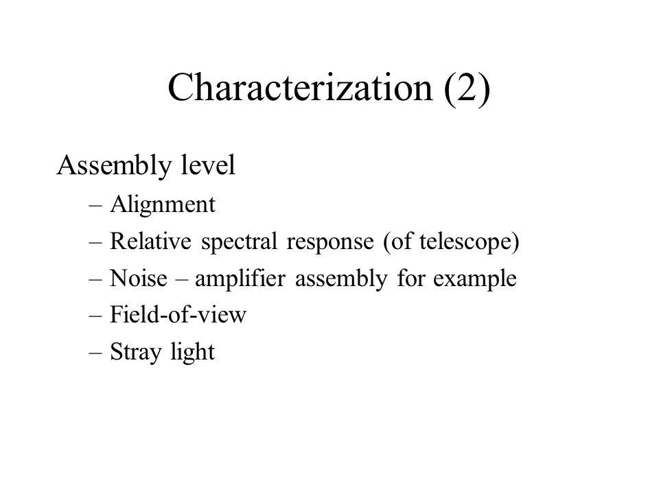 Characterization (3) Sensor level –Relative spectral response –Field-of-view –Modulation transfer function –Noise Random Coherent –Stray light