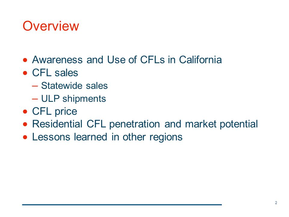 2 Overview Awareness and Use of CFLs in California CFL sales – Statewide sales – ULP shipments CFL price Residential CFL penetration and market potent