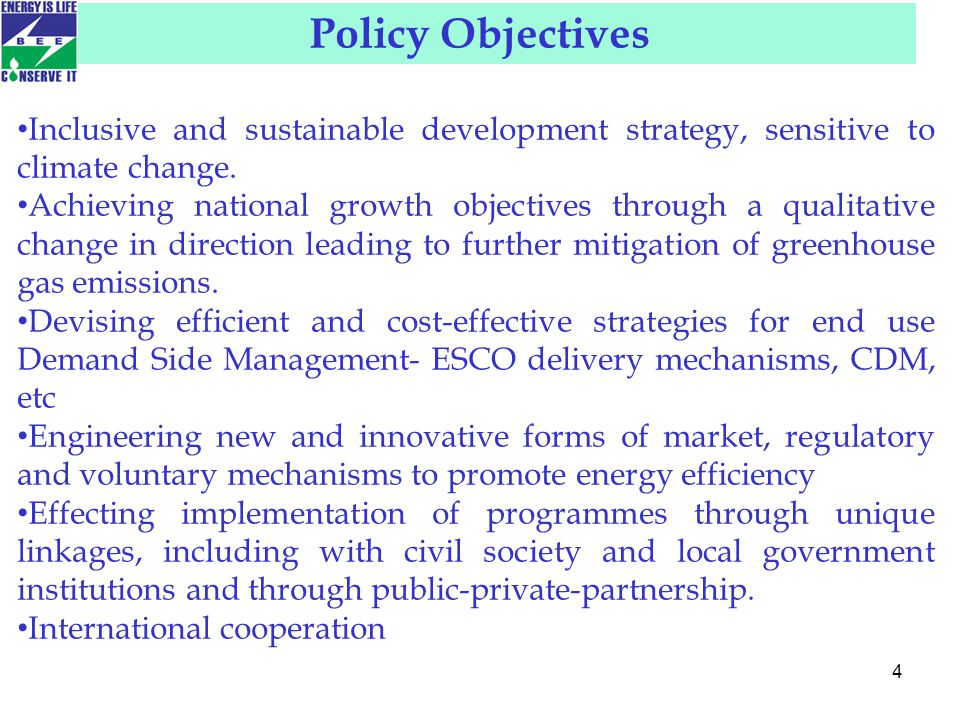 4 Inclusive and sustainable development strategy, sensitive to climate change.