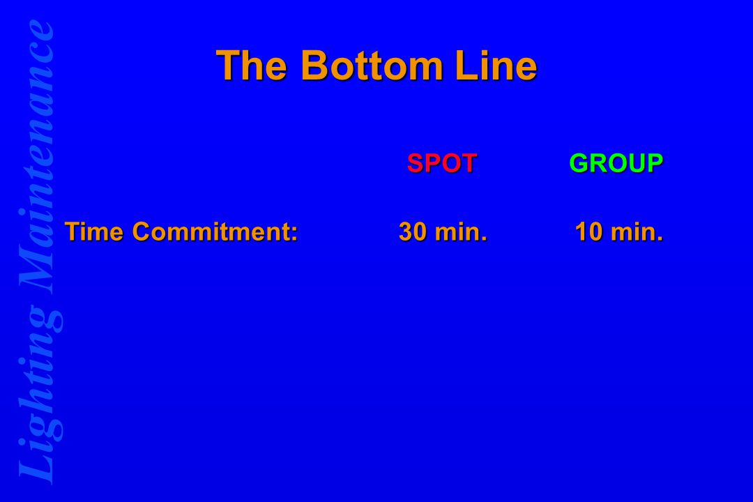 Lighting Maintenance The Bottom Line SPOTGROUP Time Commitment: 30 min. 10 min.
