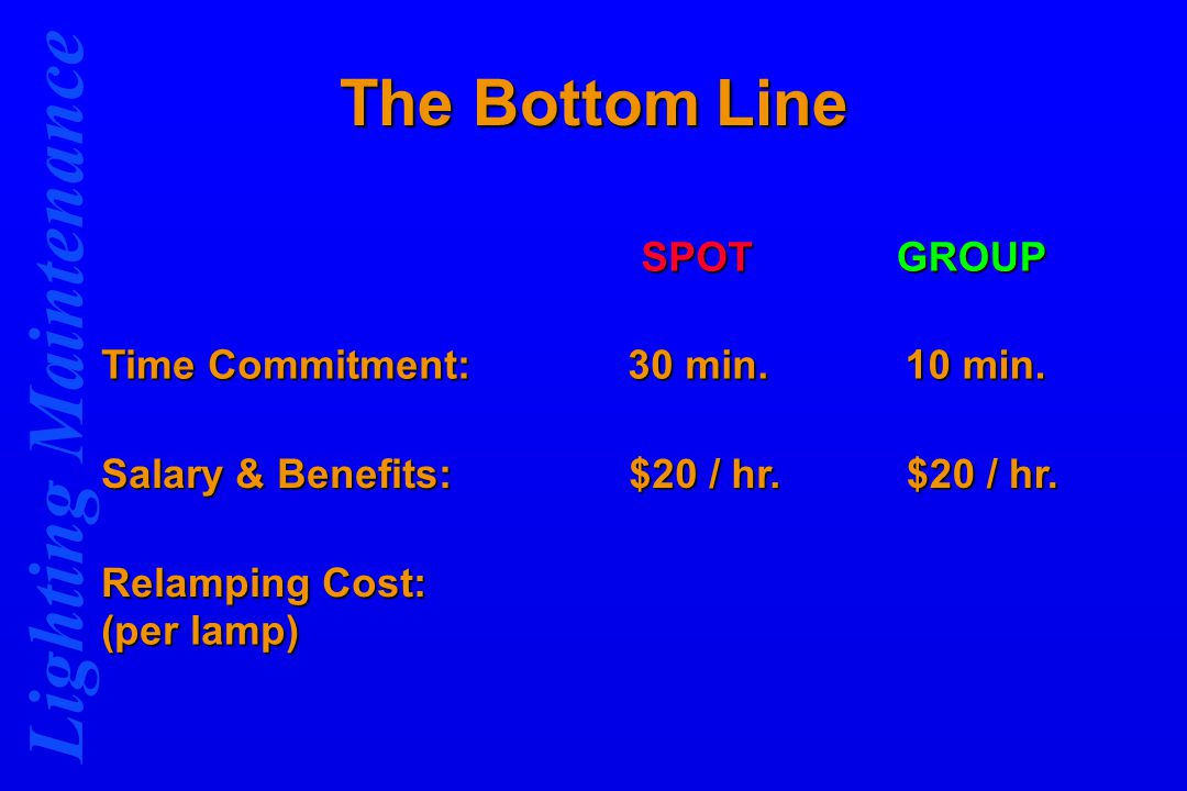 Lighting Maintenance The Bottom Line SPOTGROUP Time Commitment: 30 min.