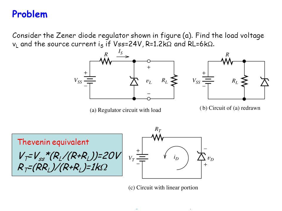 Problem Consider the Zener diode regulator shown in figure (a). Find the load voltage v L and the source current i S if Vss=24V, R=1.2k and RL=6k V T