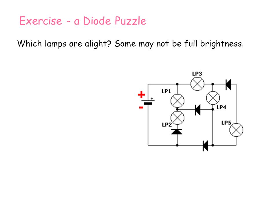 Which lamps are alight? Some may not be full brightness. + - + - Exercise - a Diode Puzzle