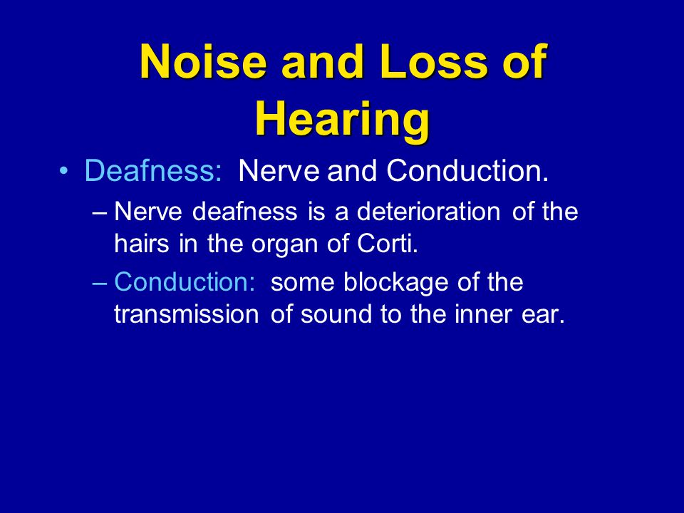 Noise and Loss of Hearing Deafness: Nerve and Conduction. –Nerve deafness is a deterioration of the hairs in the organ of Corti. –Conduction: some blo