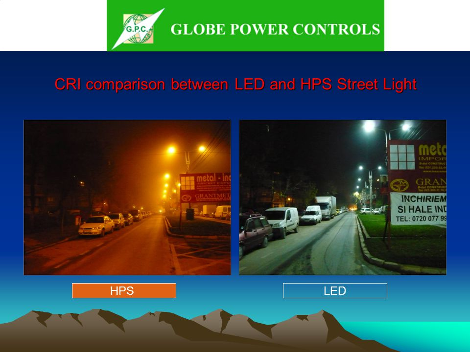CRI comparison between LED and HPS Street Light HPSLED