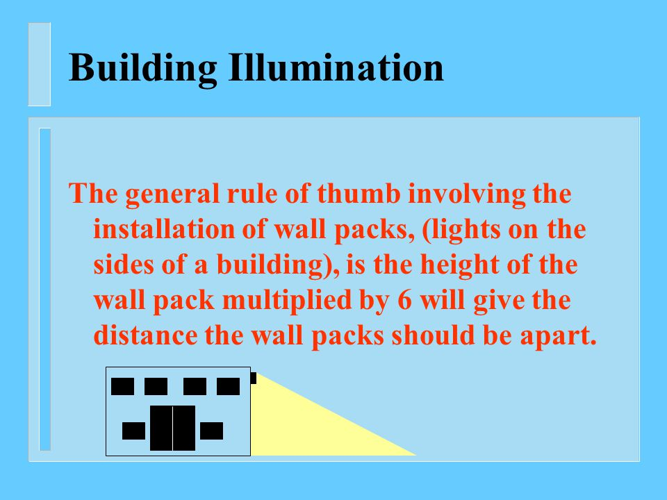 Building Illumination The general rule of thumb involving the installation of wall packs, (lights on the sides of a building), is the height of the wall pack multiplied by 6 will give the distance the wall packs should be apart.
