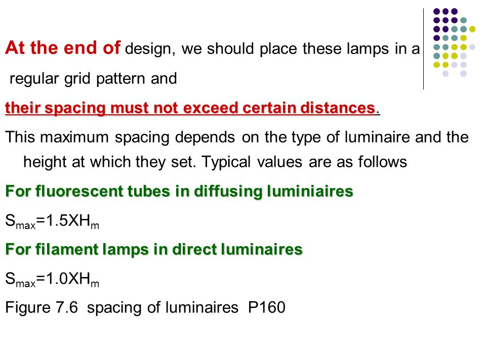 At the end of design, we should place these lamps in a regular grid pattern and their spacing must not exceed certain distances their spacing must not