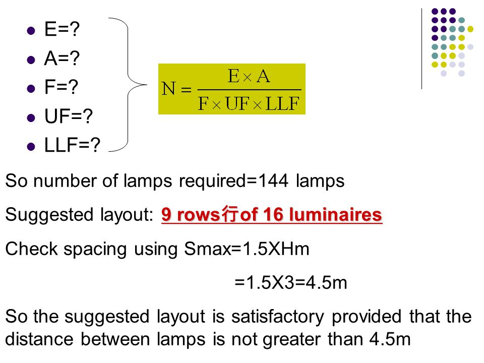 E=? A=? F=? UF=? LLF=? So number of lamps required=144 lamps 9 rows of 16 luminaires Suggested layout: 9 rows of 16 luminaires Check spacing using Sma