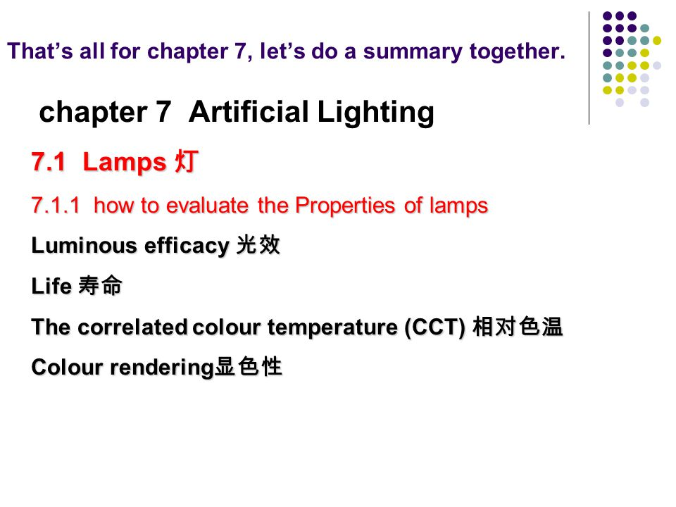 Thats all for chapter 7, lets do a summary together. chapter 7 Artificial Lighting 7.1 Lamps 7.1 Lamps 7.1.1 how to evaluate the Properties of lamps L