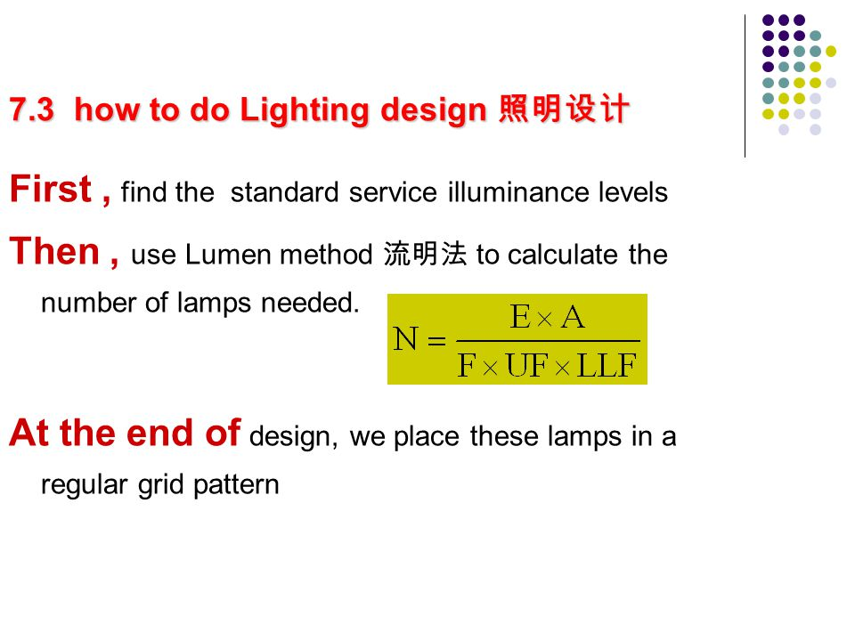 7.3 how to do Lighting design 7.3 how to do Lighting design First, find the standard service illuminance levels Then, use Lumen method to calculate the number of lamps needed.