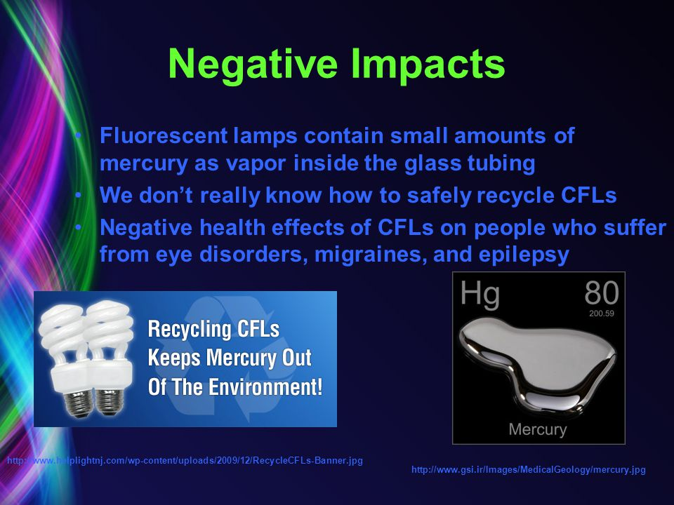 Negative Impacts Fluorescent lamps contain small amounts of mercury as vapor inside the glass tubing We dont really know how to safely recycle CFLs Ne