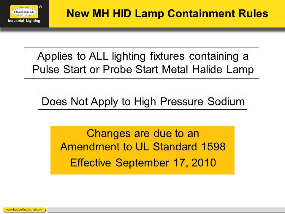 Click to edit Master title style Click to edit Master text styles Second level Third level Fourth level Fifth level 1 Applies to ALL lighting fixtures containing a Pulse Start or Probe Start Metal Halide Lamp Does Not Apply to High Pressure Sodium Changes are due to an Amendment to UL Standard 1598 Effective September 17, 2010 New MH HID Lamp Containment Rules