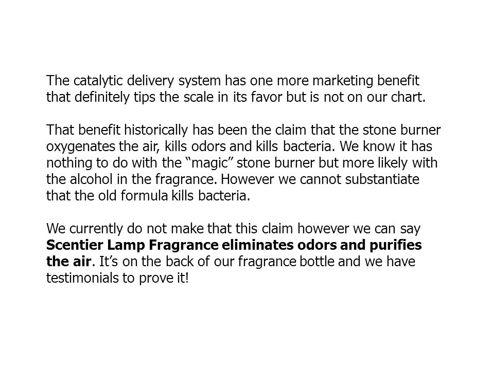 The catalytic delivery system has one more marketing benefit that definitely tips the scale in its favor but is not on our chart. That benefit histori