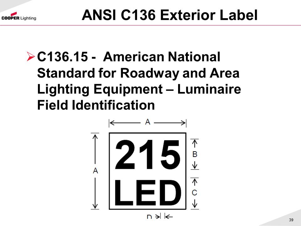 ANSI C136 Exterior Label C136.15 - American National Standard for Roadway and Area Lighting Equipment – Luminaire Field Identification 39