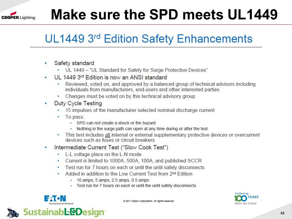 Make sure the SPD meets UL1449 46