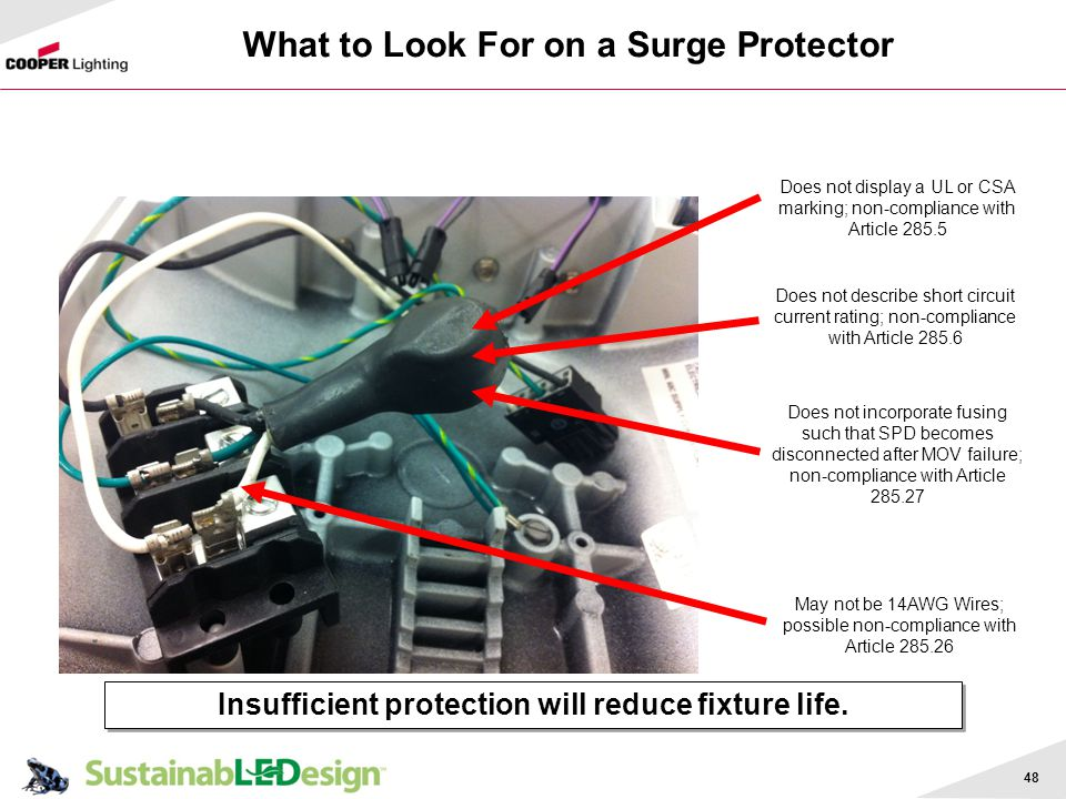 48 Insufficient protection will reduce fixture life. Does not display a UL or CSA marking; non-compliance with Article 285.5 Does not describe short c