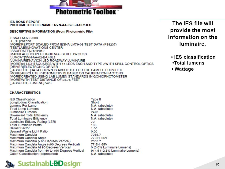 50 The IES file will provide the most information on the luminaire. IES classification Total lumens Wattage