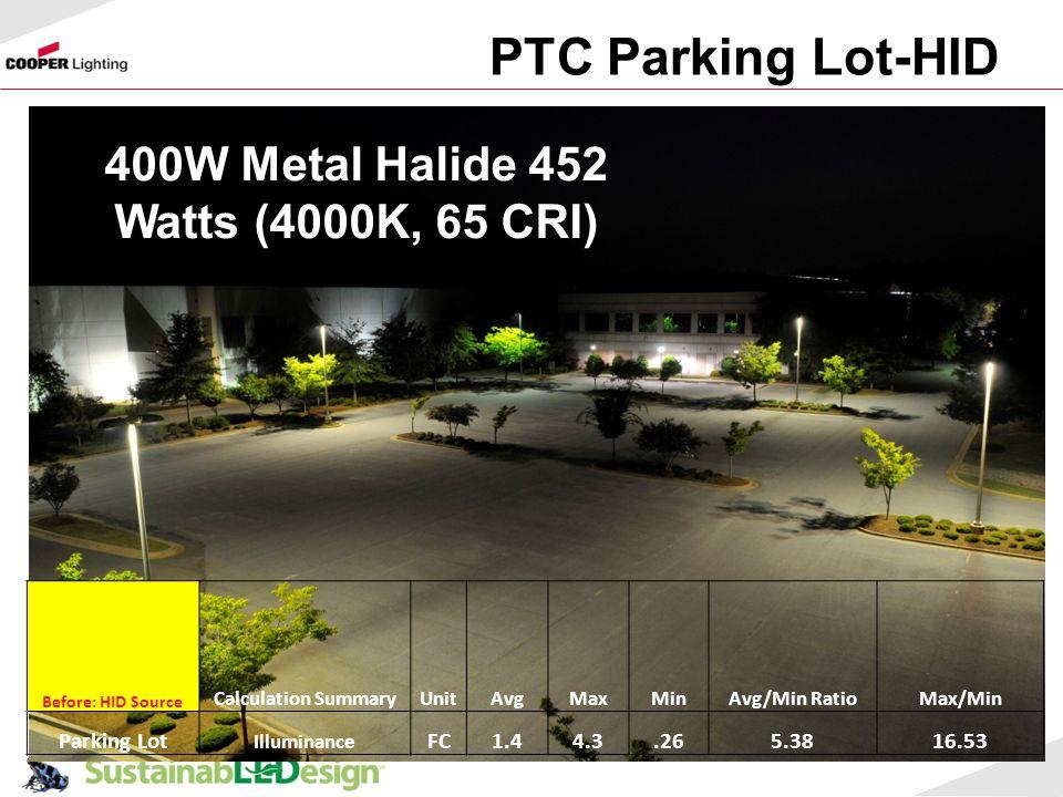 PTC Parking Lot-HID 57 Before: HID Source Calculation SummaryUnitAvgMaxMinAvg/Min RatioMax/Min Parking Lot Illuminance FC1.44.3.265.3816.53 400W Metal