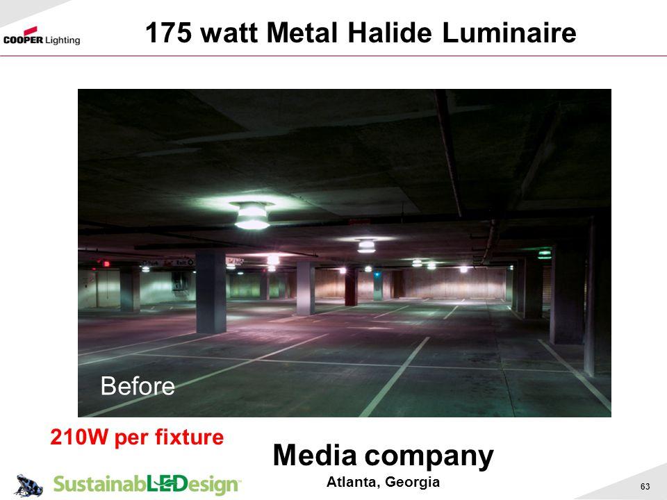 63 175 watt Metal Halide Luminaire Media company Atlanta, Georgia Before 210W per fixture