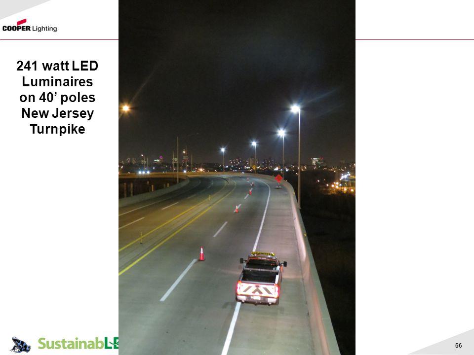 66 241 watt LED Luminaires on 40 poles New Jersey Turnpike