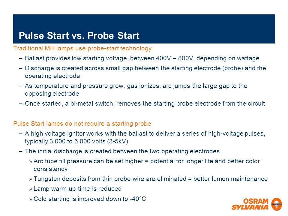 Improved lumen maintenance Reduced color shift More light output over life Faster re-strike time Potentially longer life METALARC ® PULSE START: Benefits