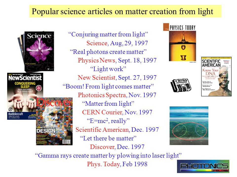 Matter creation from light. E = mc 2 Light = electron + positron Mourou, Yanovsky Opt.